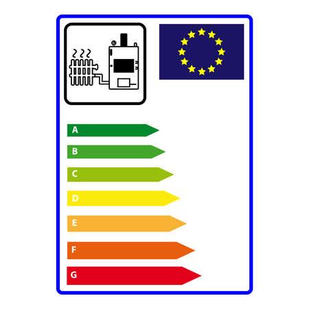 에너지 efficience 레이블 흰색 배경에 고립입니다. 벡터 illustartion