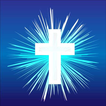 Christliches Kreuz Glaube und Religion. Vektor-Illustration Standard-Bild - 84209322