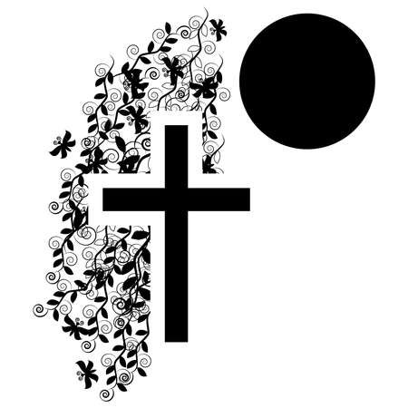 Funeral icon cross - faith and religion. Vector illustration Çizim