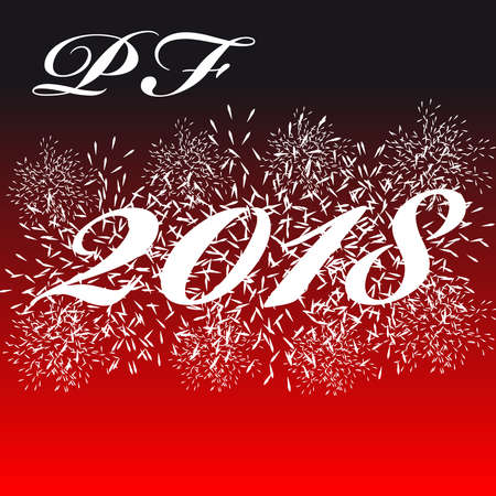 Pf card 2018 with firework isolated  on color background. Vector illustration. Illustration