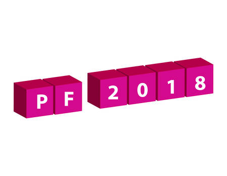 3D pink cubes with text PF 2018 isolated on white background. Vector illustration.