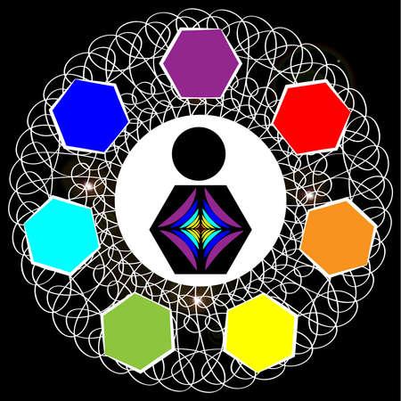 Chakras symbols isolated on white background. Vector illustration.