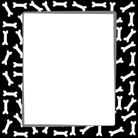Dog bone border on white background. Vector illustration.