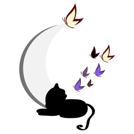 Cat silhouette with butterflies isolated on background. Vector illustration. Иллюстрация