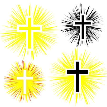 색상 기독교 십자가의 집합입니다. 믿음과 종교. 벡터 일러스트 레이 션 일러스트