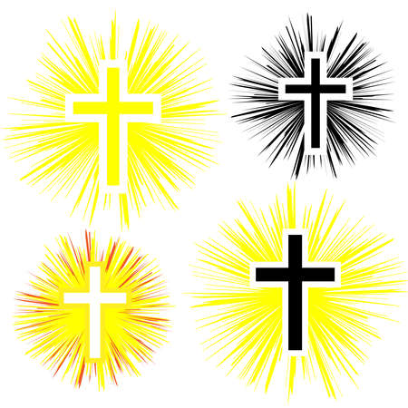 Set of color christian cross. Faith and religion. Vector illustration Stok Fotoğraf - 84175746