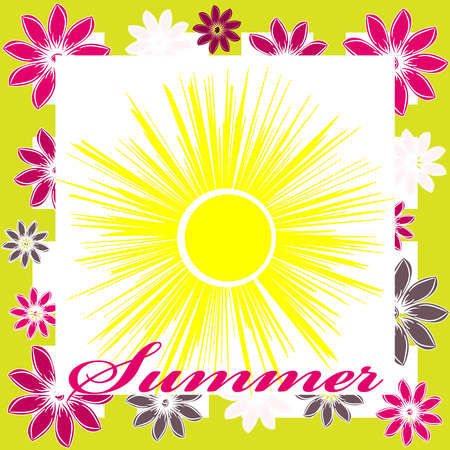 Summer image isolated on color background. Vector illustration.