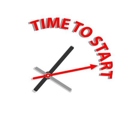 テキストを開始する時間と時計は白い背景上に分離。ベクトルの図。  イラスト・ベクター素材