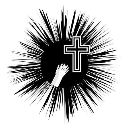 Christian cross with hands. Faith and religion. Vector illustration Illustration