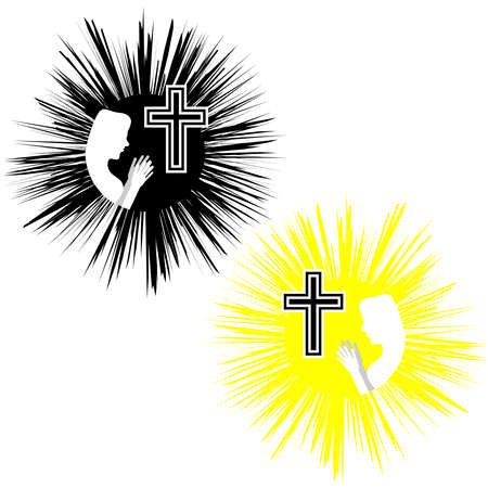 Christliches Kreuz mit Frauen. Glaube und Religion. Vektor-Illustration Standard-Bild - 84175772