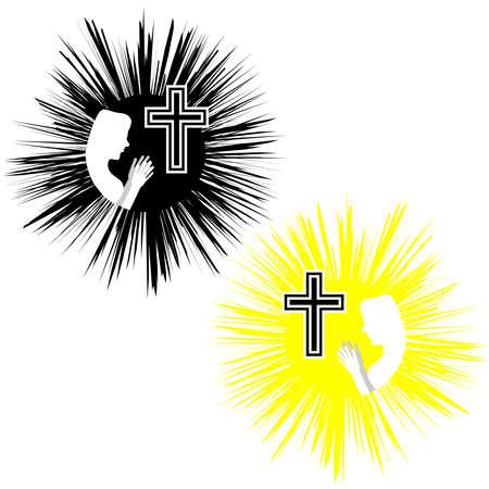 Cruz cristiana con mujeres. Fe y religión. Ilustración del vector Foto de archivo - 84175772