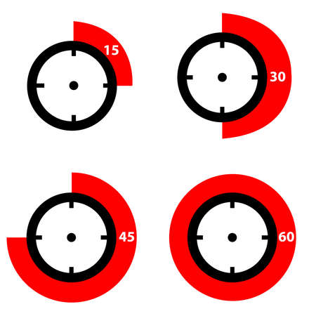 Timer icons isolated on white background. Vector illustration.