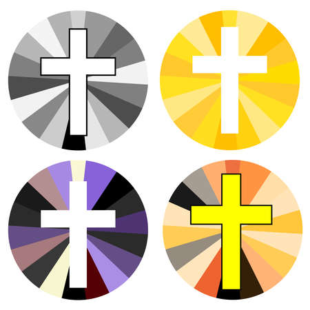 Set of color christian cross. Faith and religion. Vector illustration
