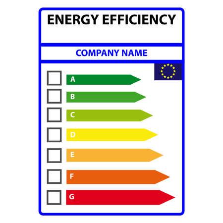 적절한 클래스를 나타내는 에너지 효율 카드. 벡터 일러스트 레이 션.