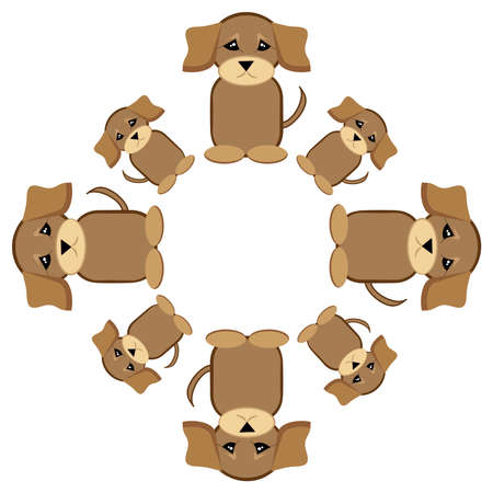 Puppies sitting in ring on white background. Çizim