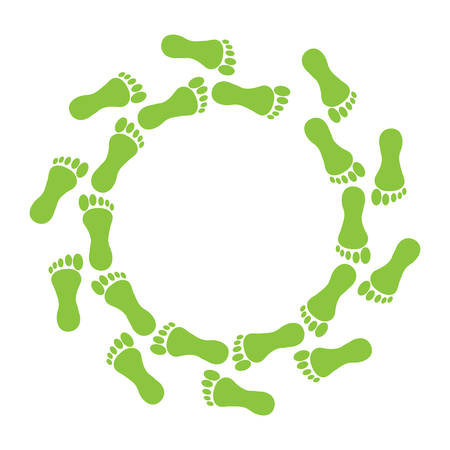Green foot in ring on white background. Illustration
