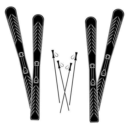 白い背景の上のスキーのシルエット。  イラスト・ベクター素材