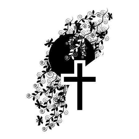 Funeral icon cross - faith and religion. Illustration