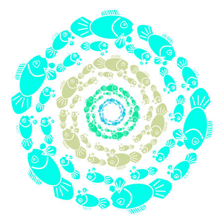 Color fish in ring on white background. Illustration