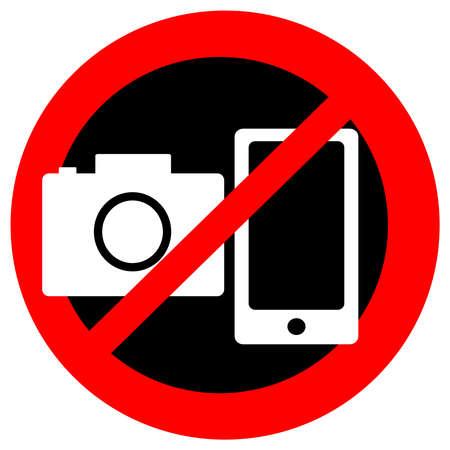 ないカメラは、白い背景の上のモバイルのシンボル。