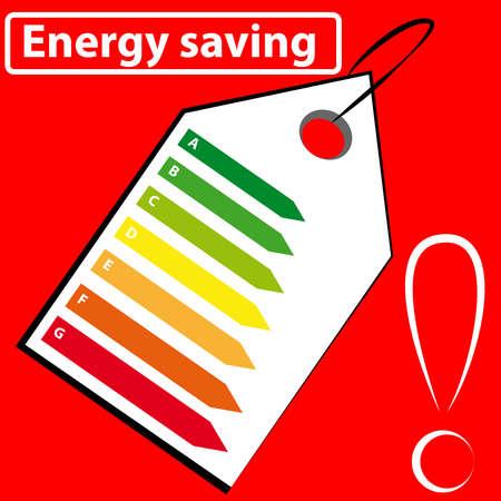 Étiquette énergétique sur fond rouge. Illustration vectorielle.