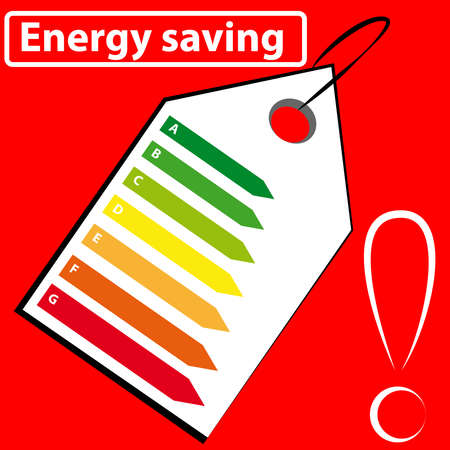 Energy label on red background. Vector illustration. Çizim