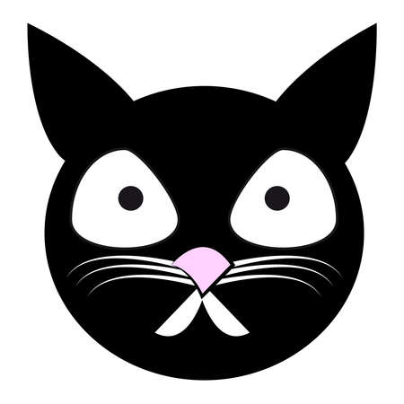 Cat head on white background. Vector illustration