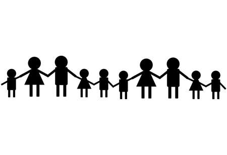 Chain of people isolated on white background. Vector illustration.