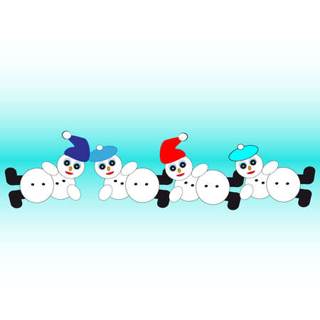 Chain of snowman isolated on blue background. Vector illustration. Иллюстрация
