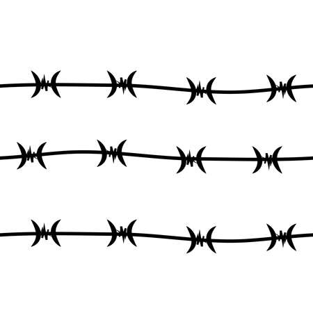 Chain of barbed wire isolated on white background. Illustration
