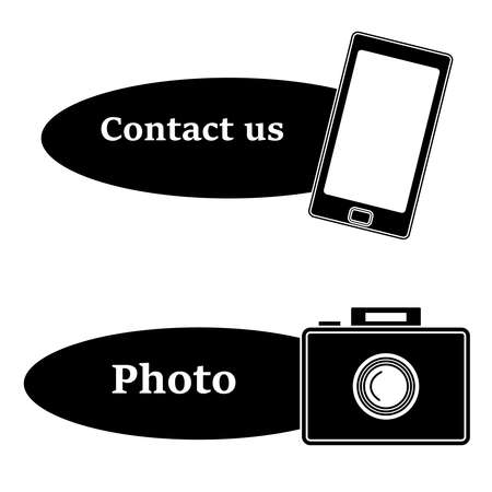 Mobile icon with text and photo icon isolated on white bc.