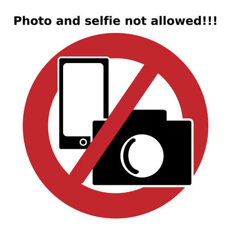 Ban icon. Photo and selfie not alloweed.Icon photo and selfie allowed. Signs and symbols