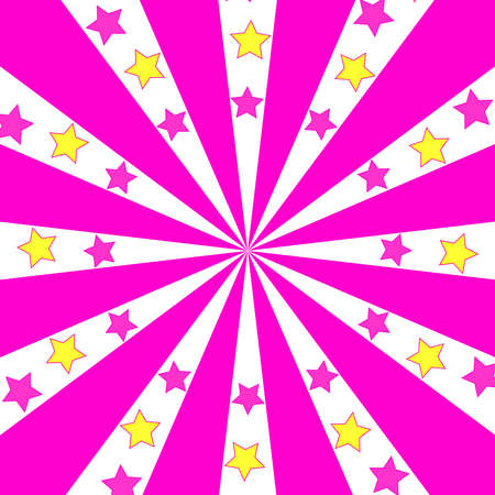 Abstract pink background with stars turn around. Abstract fun Иллюстрация