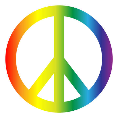 Vredessymbool in regenboogkleuren geïsoleerd op een witte achtergrond.
