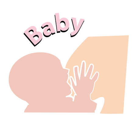 Color baby silhouette during breastfeeding-sign and symbol