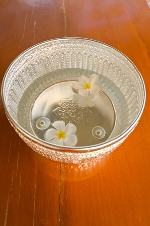 The silver water bowl carved