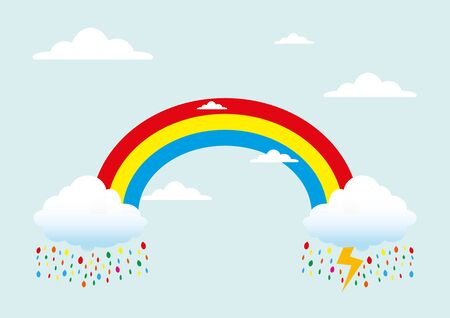 Rainbow with rain Illustration