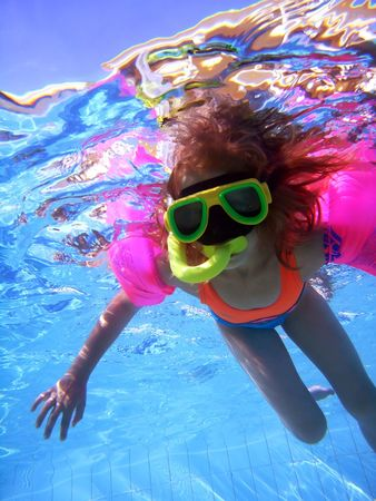 Young  girl in swimming pool photo