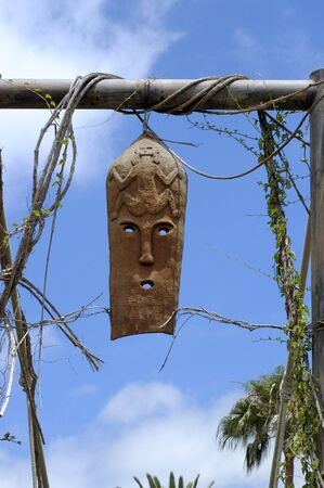 Example of african tribal art, entance to tourist village,Tenerife