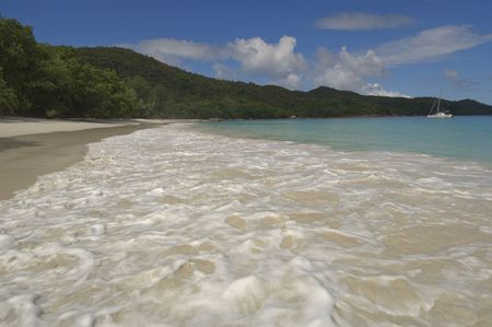 voted: Anse Lazio is considered one of the most beautiful beaches in the world and is one of the most popular ones in the Seychelles. It has often been voted  Stock Photo