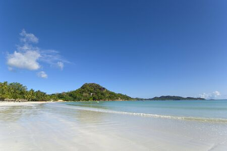 Spectacular view over Cote d�Or Bay, Praslin, Seychelles. Indian Ocean's paradise island. Stock Photo - 884093