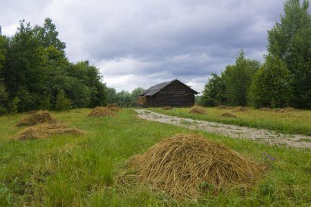 farmstead: Barn and rick-yard from Gorbukhino village, beginning of 20 century, Vitoslavitzy museum, Novgorod, Russia