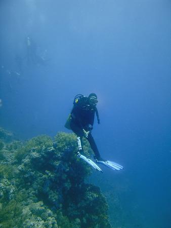 aqualung: Hovering femminile subacqueo subacquea