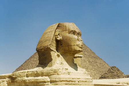 Great Sphinx statue in Egypt on Giza Plateau one of  world�s largest and oldest statues Stock Photo