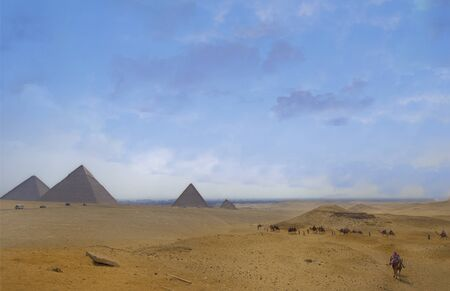Great Pyramids view from panorama point of Giza plateau Stock Photo