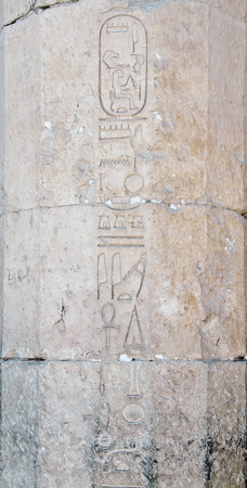 Carved hieroglyph writing on the walls of Queen Hatshepsut temple, Luxor, Egypt photo
