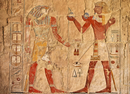 fresco in the Temple of Queen Hatshepsut, Luxor (Thebes) Egypt Stock Photo