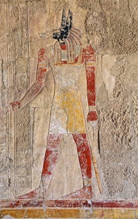 Anubis fresco painting in the Temple of Queen Hatshepsut, Luxor Stock Photo