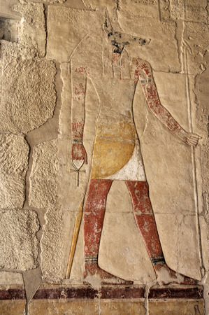 Anubis fresco painting in the Temple of Queen Hatshepsut, Luxor, Egypt photo