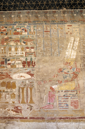 accepting: Pharaoh accepting gifts fresco painting in the Temple of Queen Hatshepsut, Luxor, Egypt